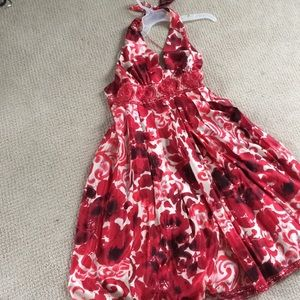 Red and white Adrianna Papell halter dress